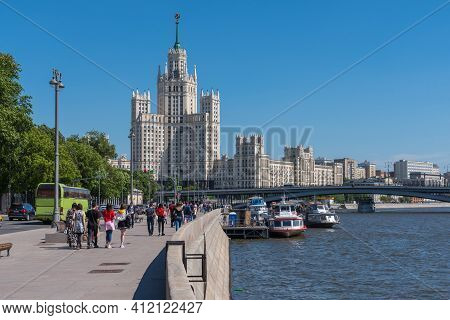 Moscow, Russia, May 27, 2018 - Stalin Skyscraper On Kotelnicheskaya Embankment In A Sunny Spring Day