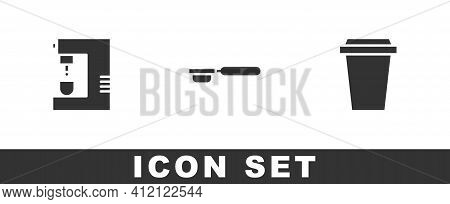 Set Coffee Machine, Filter Holder And Cup To Go Icon. Vector
