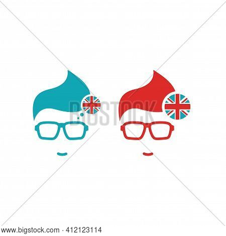 Set Of English Language Icon. Silhouette Of Man's Head In Hipster Glasses And English Flag In Circle