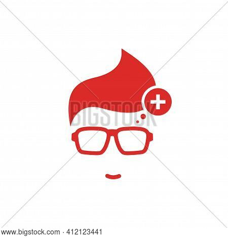 Silhouette Of Man's Head In Hipster Glasses And Switzerland Flag In Circle . Red Simple Avatar. Swis