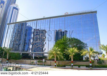 Dubai - Uae - December 18, 2020: Canadian Thomson Reuters Corp. Buildings In Dubai. Worldwide Famous