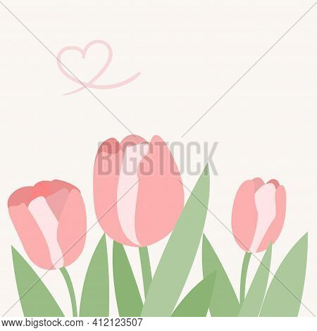 Spring Greeting Card With An Abstract Tulip And Heart. Mother Day, Happy Women Day 8 March Illustrat