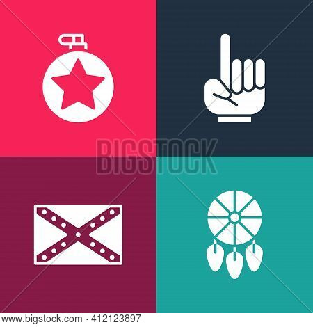 Set Pop Art Dream Catcher With Feathers, Flag Confederate, Number 1 One Fan Hand Glove And Canteen W