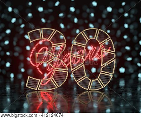 Golden Number Thirty (number 30) Cut Into Perforated Gold Segments With  Inscription Years With A Ba