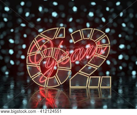 Golden Number Sixty-two (number 62) Cut Into Perforated Gold Segments With  Inscription Years With A