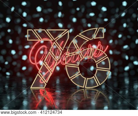 Golden Number Seventy-six (number 76) Cut Into Perforated Gold Segments With  Inscription Years With