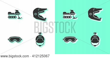 Set Helmet And Action Camera, Snowmobile, Ski Goggles And Motocross Motorcycle Helmet Icon. Vector