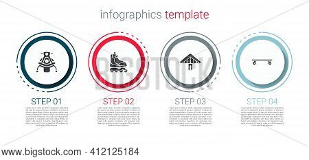 Set Snowmobile, Roller Skate, Hang Glider And Longboard Or Skateboard. Business Infographic Template