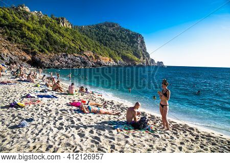 Alanya , Turkey- October 20, 2020:View on Cleopatra's beach  on suny day Alanya. Turkey.