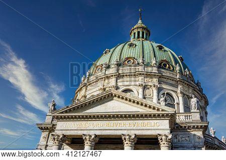 Copenhagen, Denmark - Oct 19, 2018: Ornate Upper Section And Dome Of Frederik's Church (frederiks Ki
