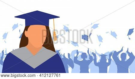 Girl Graduate In Mantle And Academic Square Cap On Background Of Cheerful Crowd Of Graduates Throwin