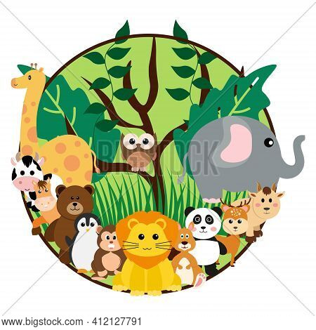 Vector Cute Jungle Animals In Cartoon Style, Wild Animal, Zoo Designs For Background, Baby Clothes.