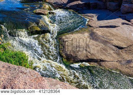View Of Tokovsky Waterfalls On The Kamenka River In Dnipropetrovsk Region, Ukraine