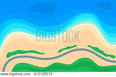 Summer Beach, Blue Sea And Coastal Road, View Above. Coastline Landscape With Highway. Seashore, Sea