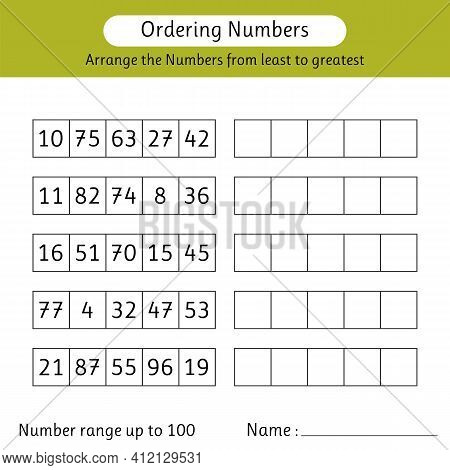 Ordering Numbers Worksheet. Arrange The Numbers From Least To Greatest. Number Range Up To 100. Math