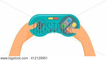 Game Console, Digital Device For Play In Online Video Games In Gamer Hands