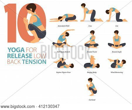 Infographic 8 Yoga Poses For Workout In Concept Of Release Low Back Tension In Flat Design. Women Ex