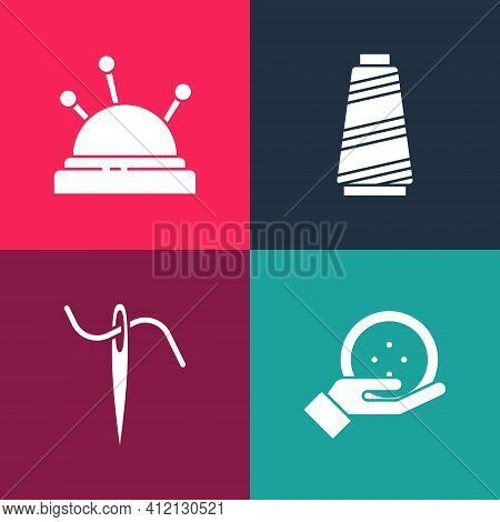 Set Pop Art Sewing Button, Needle For Sewing With Thread, And Bed And Needles Icon. Vector