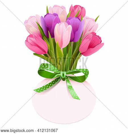 Vector Tulip Bouquet With Label Isolated On White Background