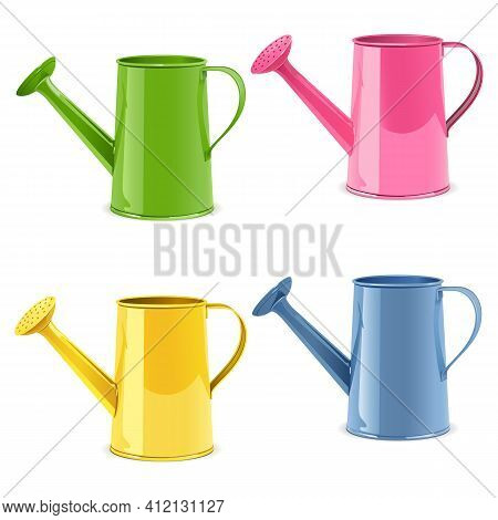 Vector Watering Can Icons Isolated On White Background