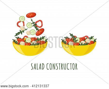 Salad Constructor With Bowls Of Vegetable Salad, Vector Illustration Isolated.