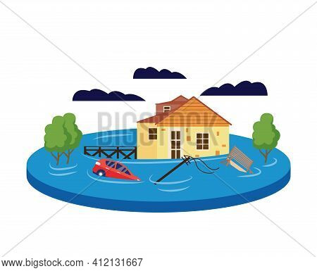 Flood Concept. Cartoon House Drowning In Water From Natural Disaster