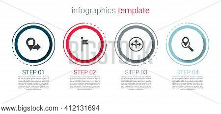 Set Location With House, Marker, Road Traffic Sign And Search Location. Business Infographic Templat