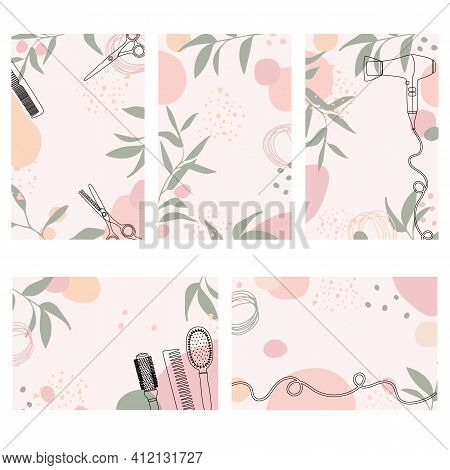 A Set Of Backgrounds For The Hair Salon. Templates With Abstract Shapes, Plant Twigs, And Hairdresse