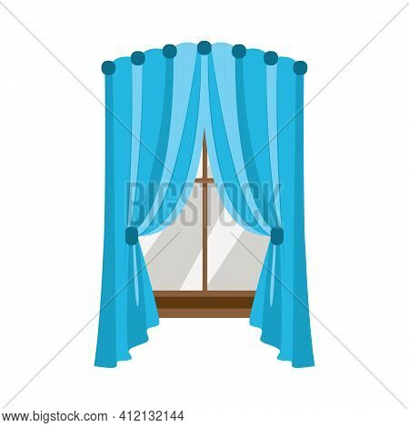 Blue Window Drapes With Middle Part, Colorful Draped Curtains