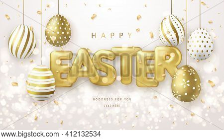 Happy Easter Banner Template With Golden Luxury Easter Eggs And Ballon Title Letter
