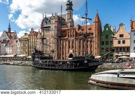 Gdansk, Poland - September 6, 2020: Passenger Harbor On The Motława River - A Replica Of A Galleon A