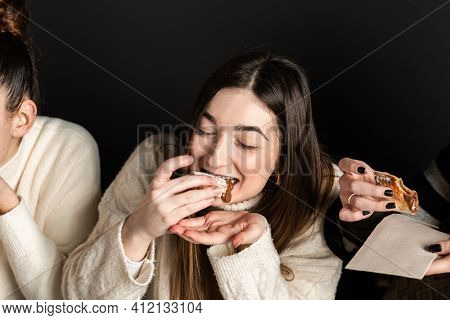 Girls Eat Chocolate Cream Pizza Dessert And Get Messy