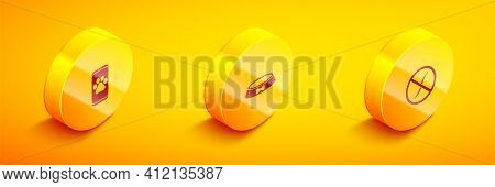 Set Isometric Veterinary Clinic, Pet Food Bowl And Anti Worms Parasite Icon. Vector