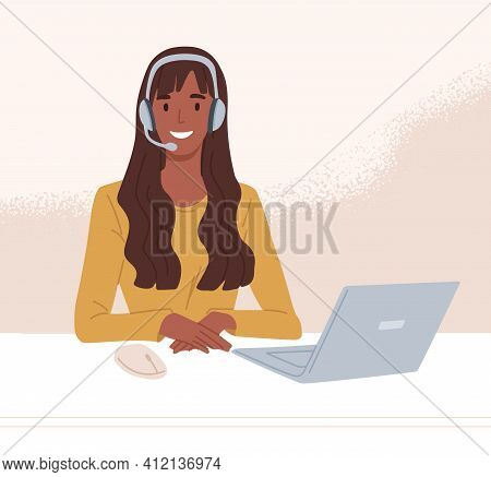 Operator Of Call Center In Headset Consulting Customers Online. Worker Of Helpline Service Working A
