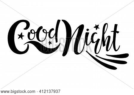 Good Night Text With Wings. Handwritten Calligraphy Vector Illustration. Good Wishes. Nursery Phrase