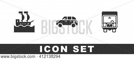 Set Sailboat, Hatchback Car And Delivery Cargo Truck Icon. Vector