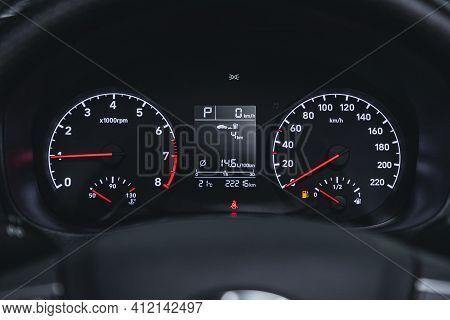 Novosibirsk, Russia - March 2 2021: Hyundai Solaris, Car Panel, Digital Bright Speedometer, Odometer