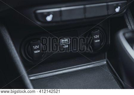 Novosibirsk, Russia - March 2 2021: Hyundai Solaris, Close Up Shot Of Car Seat Heating Control Panel