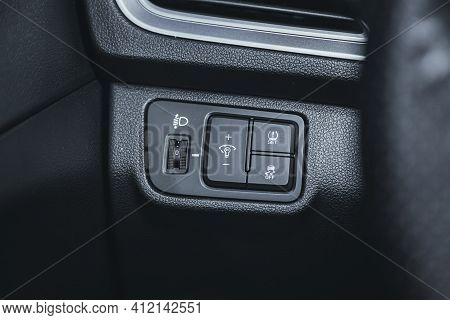 Novosibirsk, Russia - March 2 2021: Hyundai Solaris, Close-up Of The  Headlight Setting Buttons. Mod