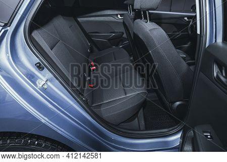 Novosibirsk, Russia - March 2 2021: Hyundai Solaris, Interior Design, Car Passenger And Driver Seats