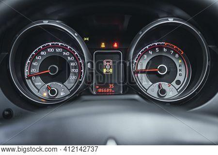 Novosibirsk, Russia - March 2 2021: Mitsubishi Pajero,  Car Panel, Digital Bright Speedometer, Odome