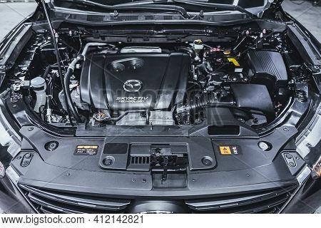 Novosibirsk, Russia - March 2 2021: Mazda Cx-5, Closeup Of A Clean Motor Block, . Internal Combustio