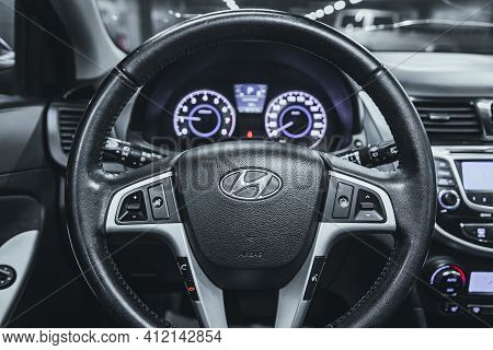 Novosibirsk, Russia - March 2 2021: Hyundai Solaris, Luxurious Car Interior - Steering Wheel, Shift