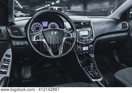 Novosibirsk, Russia - March 2 2021: Hyundai Solaris, Steering Wheel, Shift Lever And Dashboard, Clim