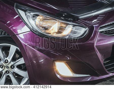 Novosibirsk, Russia - March 2 2021: Hyundai Solaris, Detail Light Close Up Of On New Car. Exterior D