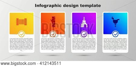 Set Accordion, Birch Tree, The Tsar Bell And Cockerel Lollipop. Business Infographic Template. Vecto