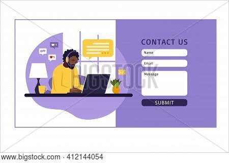 Contact Us Form Template For Web. African Male Customer Service Agent With Headset Talking With Clie