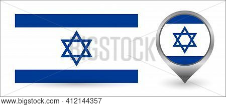 Vector Flag Israel. Location Point With Flag Israel
