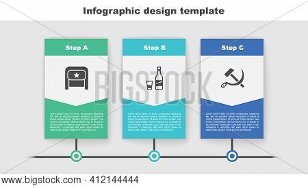 Set Ushanka, Bottle Of Vodka With Glass And Hammer And Sickle Ussr. Business Infographic Template. V