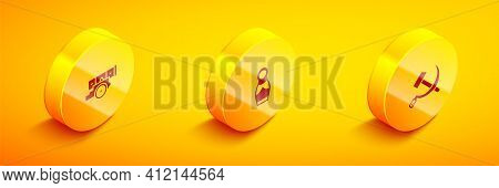 Set Isometric Cannon, Russian Doll Matryoshka And Hammer And Sickle Ussr Icon. Vector